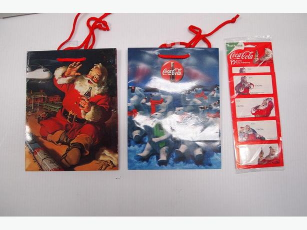 Christmas Coca-Cola Gift bags & Gift Tags -Peel & Stick