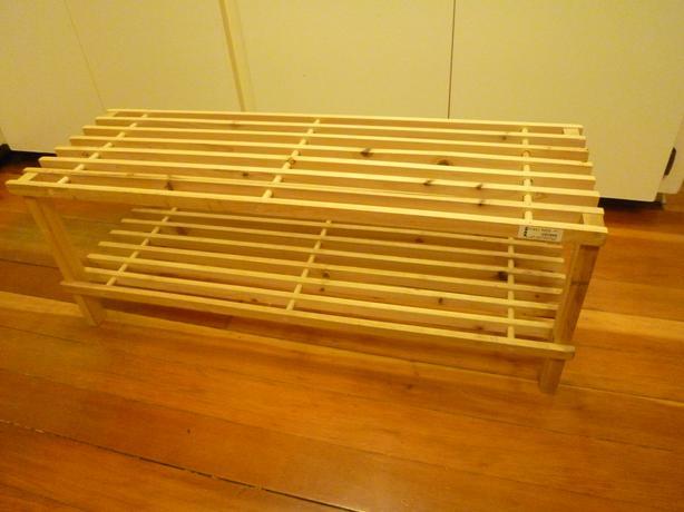 Ikea wooden shoe rack saanich victoria for Wooden shoe rack ikea