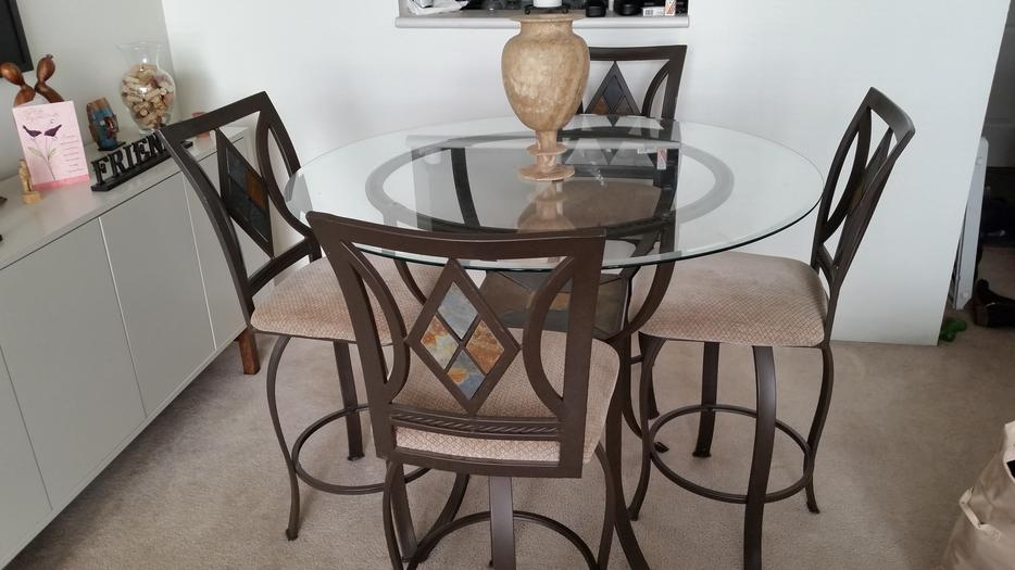 Moving sale bar height dining table and chairs vancouver
