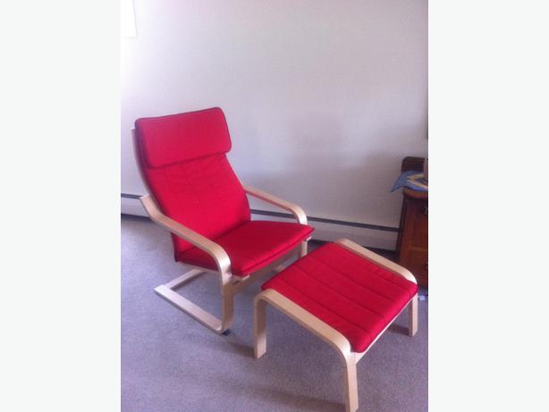 Red ikea poang chair stool saanich victoria - Red poang chair ...