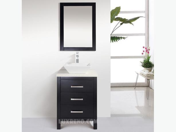 "24"" Solid Wood Bathroom Vanity with Mirror and Faucet"