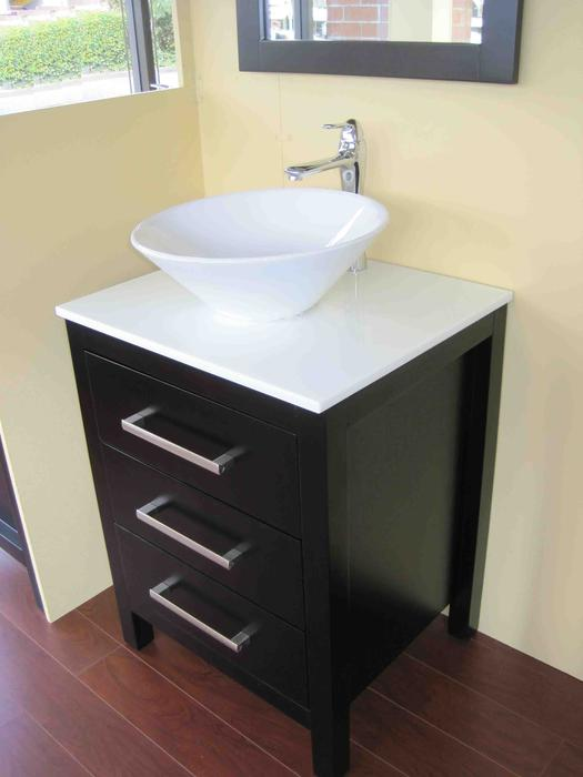 24 Solid Wood Bathroom Vanity With Mirror And Faucet Richmond Vancouver