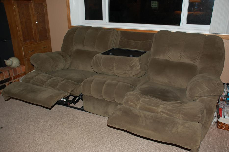 Reclining 3 Seat Sofa With Fold Down Table Central Saanich