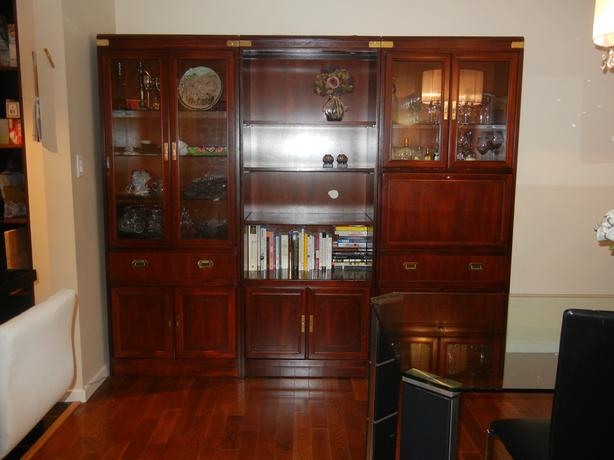 Large 3 Piece Wall Unit In Mahogany Wood With Brass