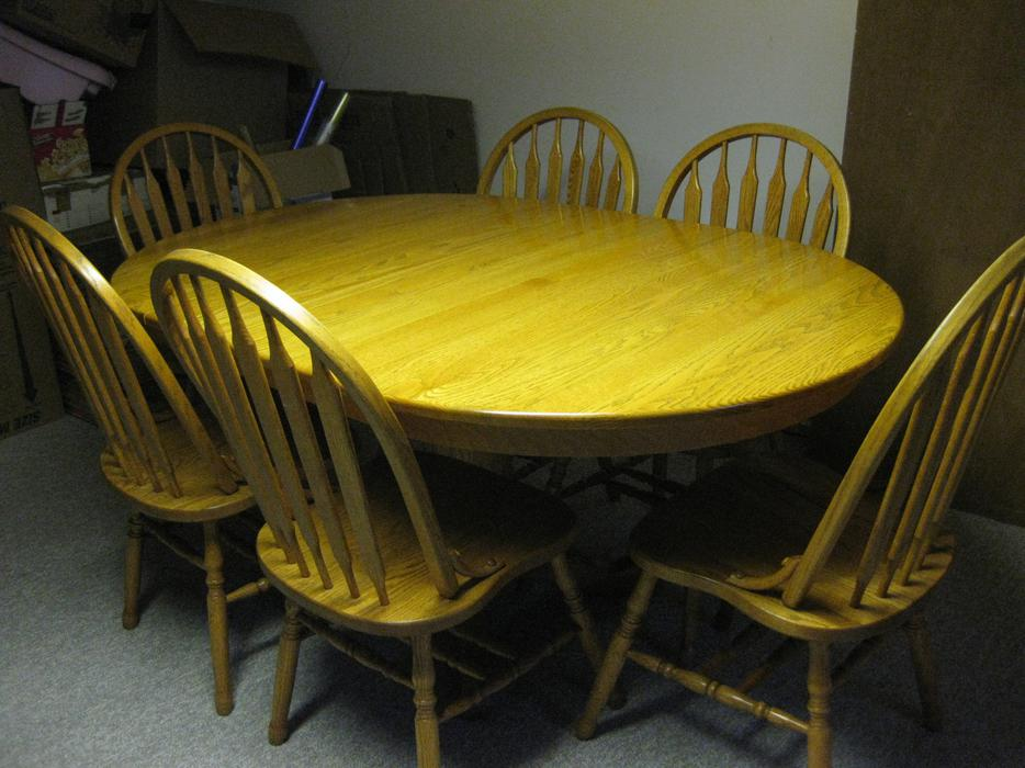 Solid Oak Windsor Chairs ~ Solid oak dining table with windsor chairs saanich victoria