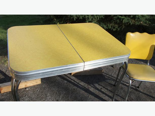 Retro Yellow Formica Chrome Table And Chairs