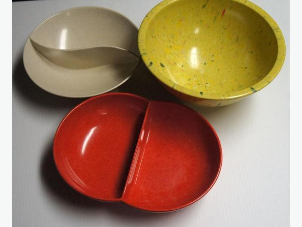 Vintage Melamine Bowl and Divided Disks