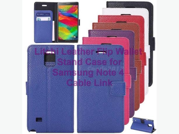 Litchi Flip Wallet Stand Case for Samsung Note 4 (multi colors)