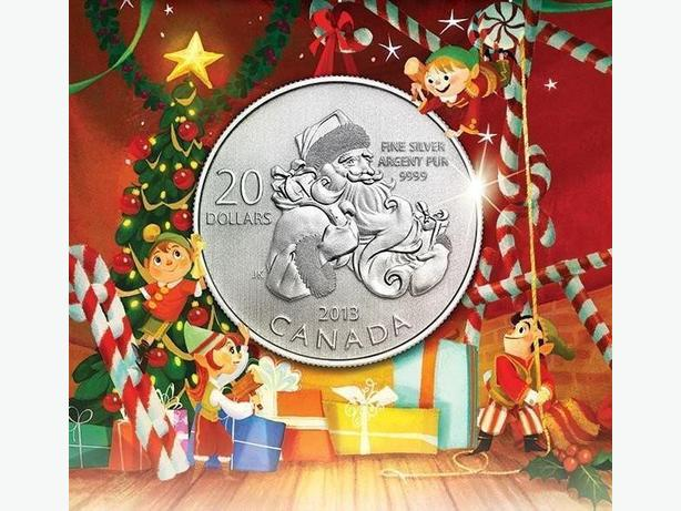 Christmas Santa Pure 0.9999 Silver Coin, $20 Face Value