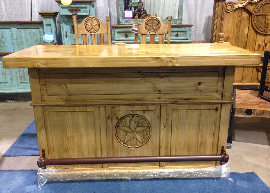 Rustic Pine Western Home Bar Or Kitchen Island And Bar