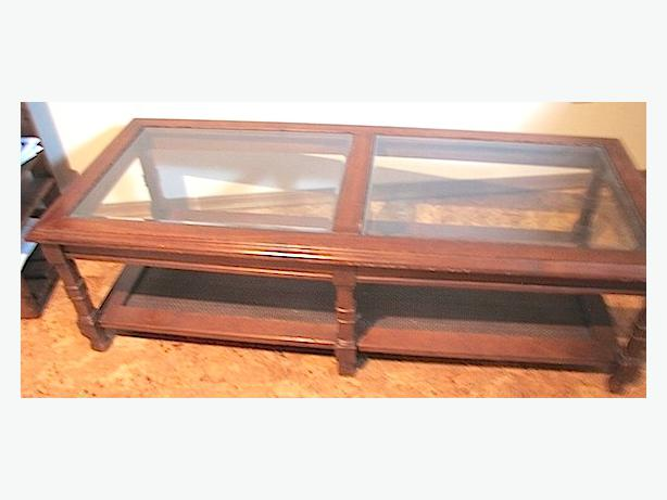 Glass Cane Solid Fruitwood Coffee Table Retro North Saanich Sidney Victoria