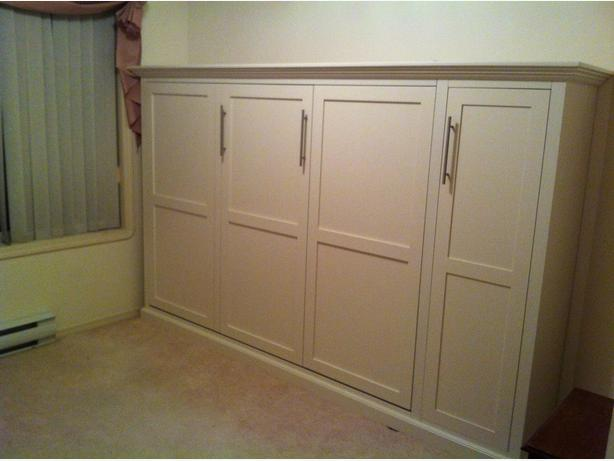 Murphy Beds Langford : Double horizontal murphy bed painted white empress