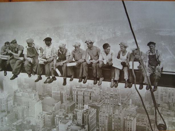 Picture New York Skyline Men Sitting On Steel Beam North