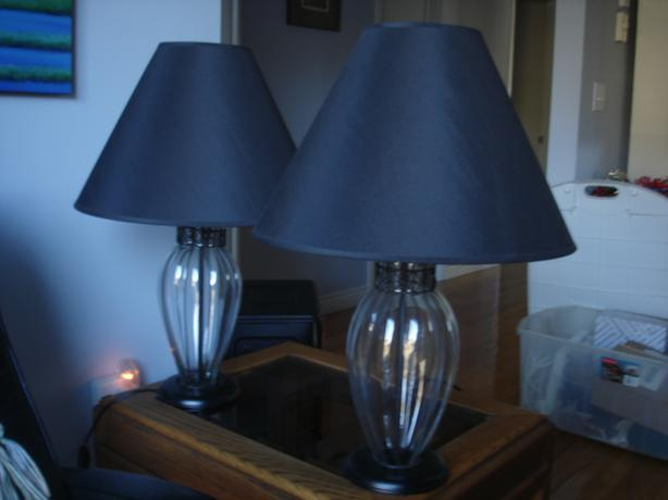 ECU Two Glass Table Lamps Saanich Victoria