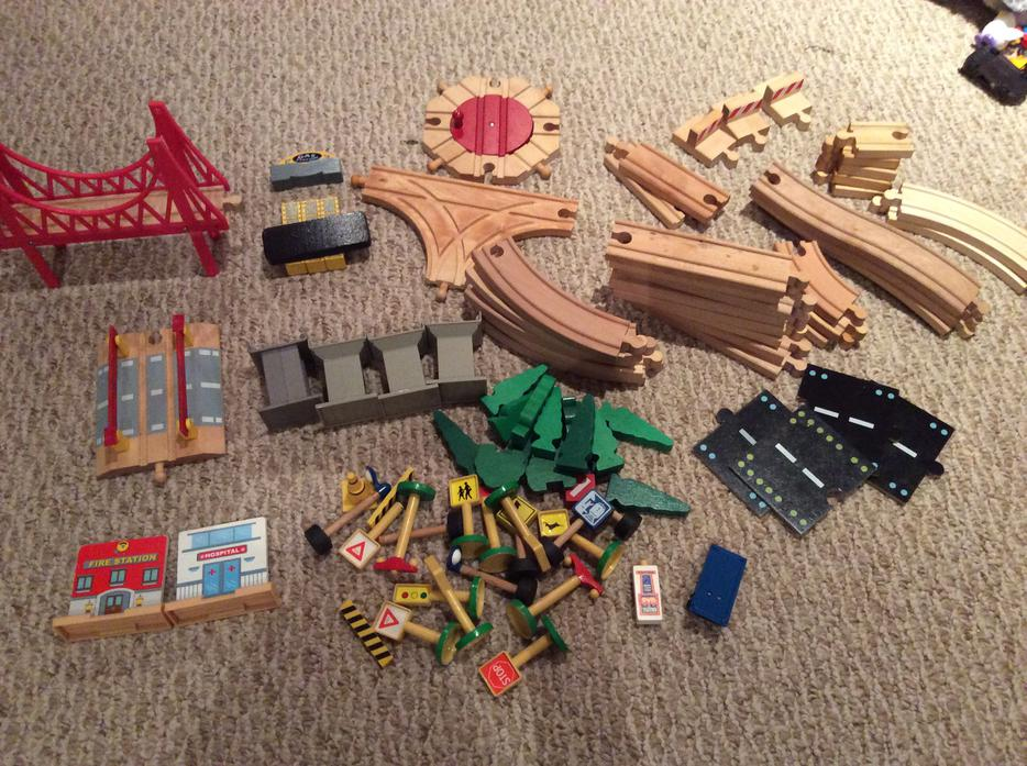 Imaginarium classic train table with roundhouse wooden for 100 piece mountain train set and wooden activity table