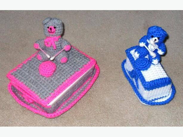 2 Small Plastic Containers with Knitted Covers and Drummer Bear Motifs