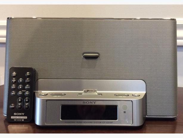 sony radio alarm clock iphone ipod dock saanich victoria. Black Bedroom Furniture Sets. Home Design Ideas