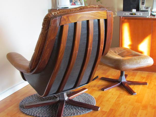 Mid century authentic g mobel leather chair and ottoman from sweden saanich victoria - Mid century mobel ...