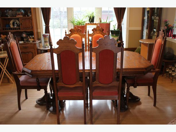 dark brown solid oak diningroom set with buffet china cabinet 4