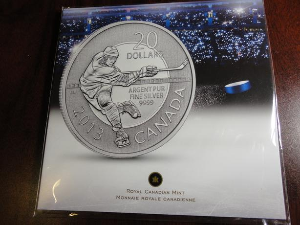 Fine Silver Hockey Coin, $20 Face Value, Xmas Gift