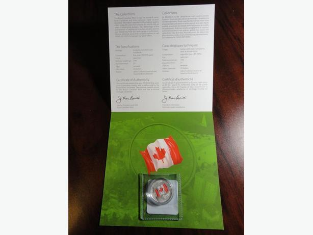 $25 COLORED SILVER COIN - 50TH ANNIVERSARY OF CANADA FLAG