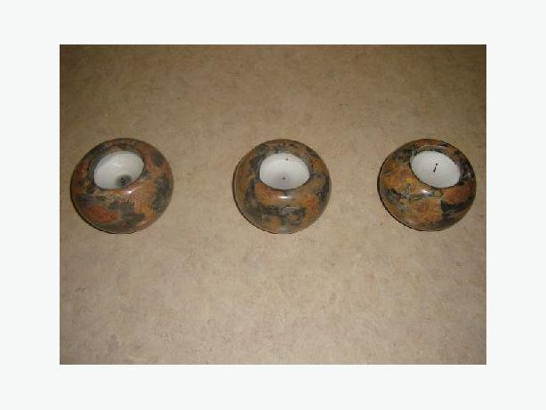 Beautiful Set of Like New Polished Marble  Stone Candle Holders! $12