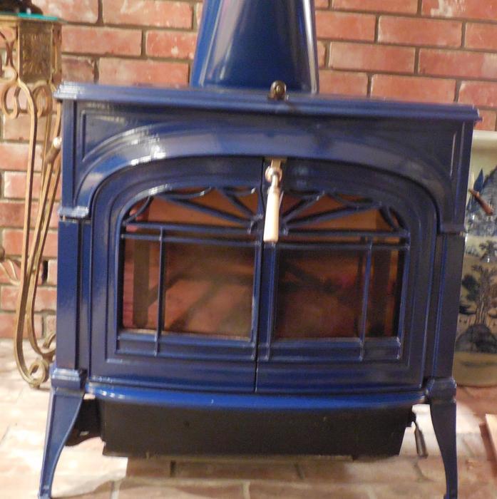 Blue Vermont Castings Porcelain Enamel Wood Stove Saanich