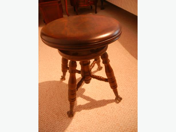 Antique Piano Stool Clawfoot Feet Beautiful Finish