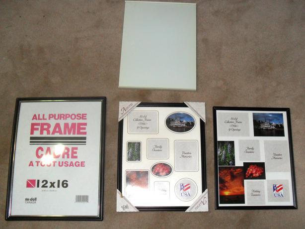 4 Big Plastic Photo Frames: 1 White and 3 Black