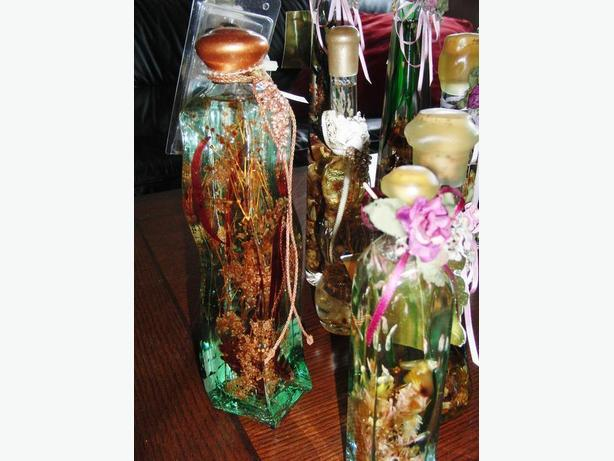 New 10 Bottles of Bath Oils and Oil Lamps