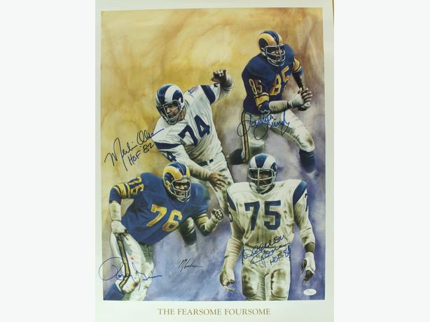Fearsome Foursome 19 x 26 Signed Lithograph, Jones, Olsen, Grier, Lundy