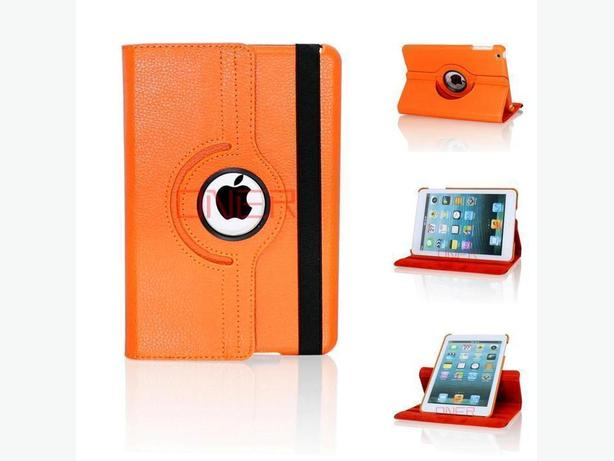 NEW 360 ROTATING PU LEATHER CASE COVER WITH STAND FOR IPAD MINI 1,2, 3 ORANGE