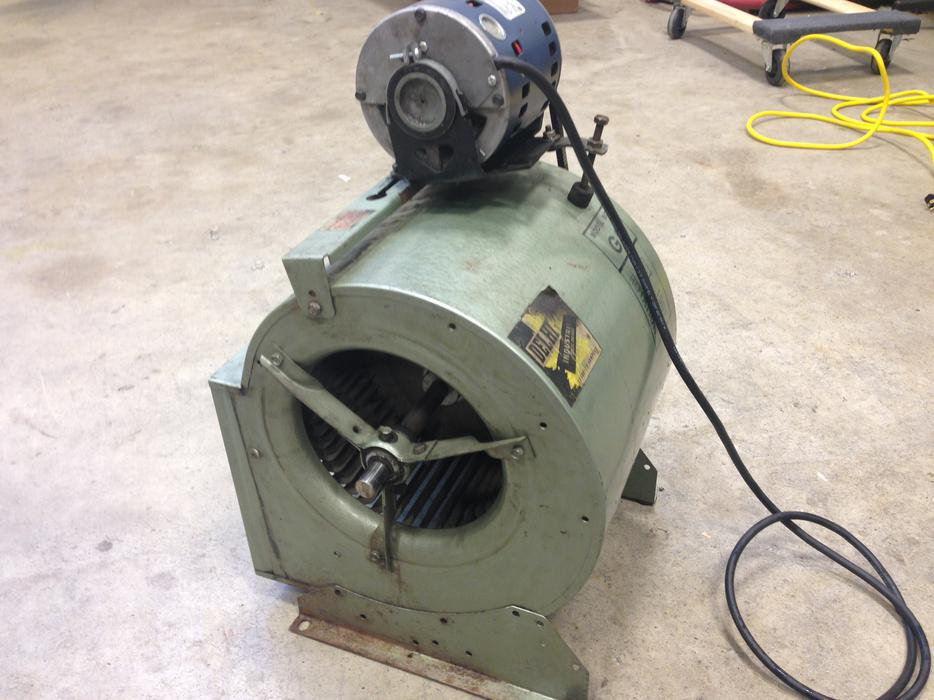 Delhi industrial hvac blower fan with newer ge 1 3hp ac for North shore motor works