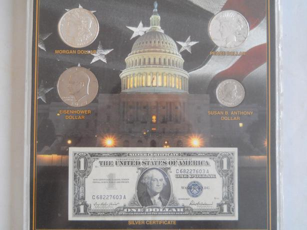 5 American Silver Dollars in plaque