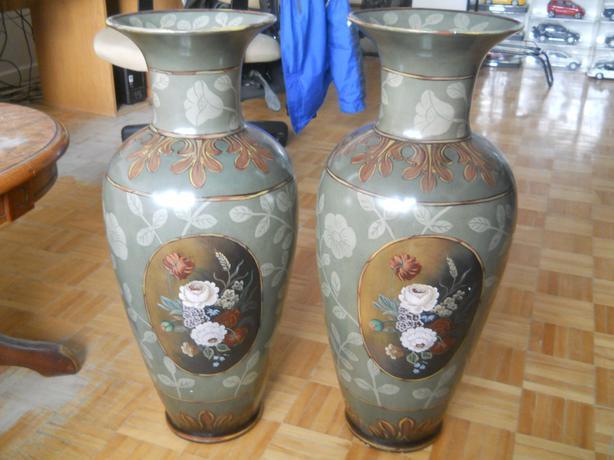Pair Maitland-Smith Handpainted Matching vases