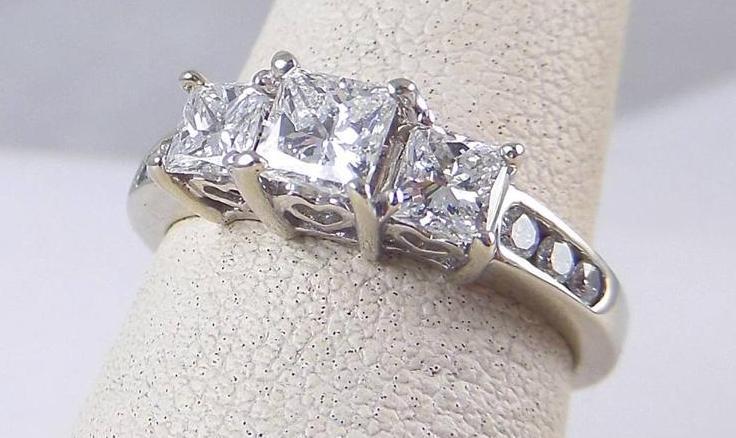 1 03ct princess three engagement ring 14k