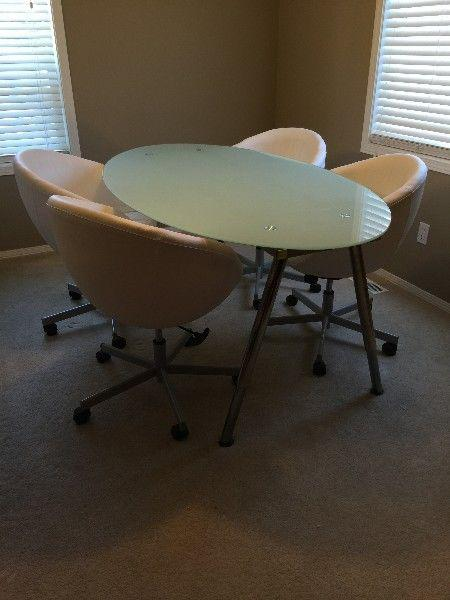 IKEA Oval Galant Table + 4 SKRUVSTA White Swivel Chairs North West