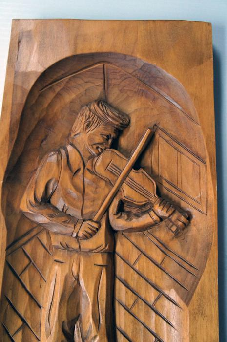 Two vintage quebec wood carving by caron d wall