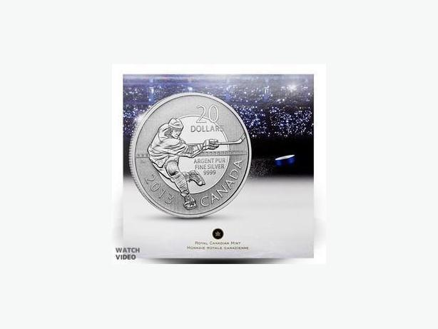 Canada Pure Silver Hockey Coin, $20 Face Value, Perfect Christmas (Xmas) gift