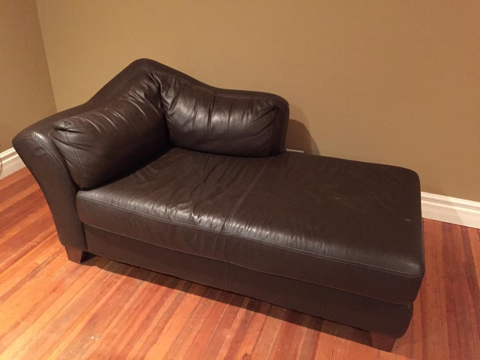 Stylish real leather brown chaise lounger couch sofa for Brown leather sofa with chaise lounge