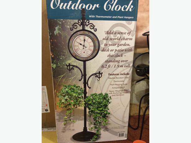 Outdoor Clock With Thermometer And 2 Plant Hangers   $100