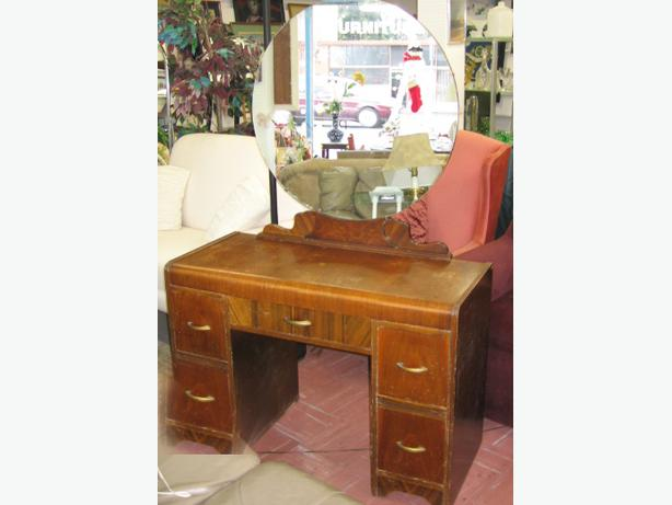 Antique dresser and large round mirror all original wood for Antique vanity with round mirror