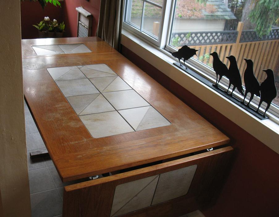 teak and tile dining room table with 4 chairs esquimalt view royal