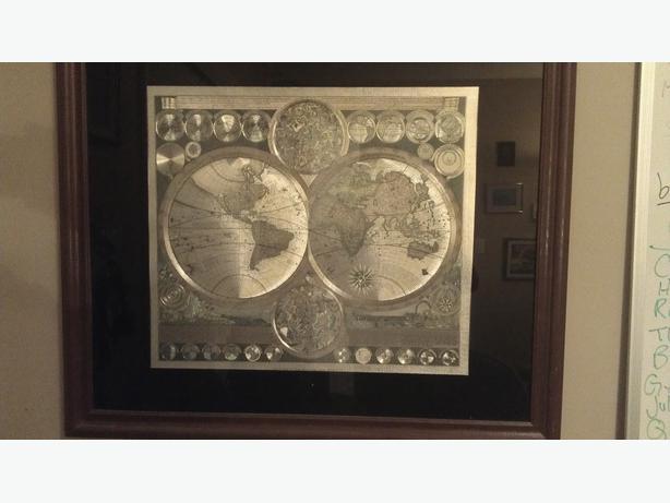 Large framed schenk world map gold foil engraved west shore large framed schenk world map gold foil engraved gumiabroncs Images
