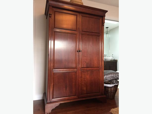 Solid cherry wood armoire central saanich victoria