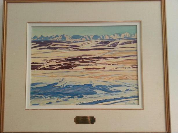 Oil painting known Alberta artist Duma,Alberta foothills and mountain scene)