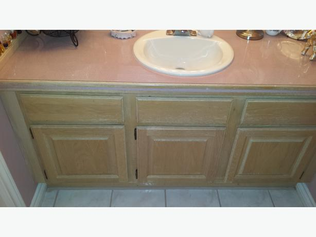 Free oak bathroom cabinets laminate countertops and for Bath countertop accessories