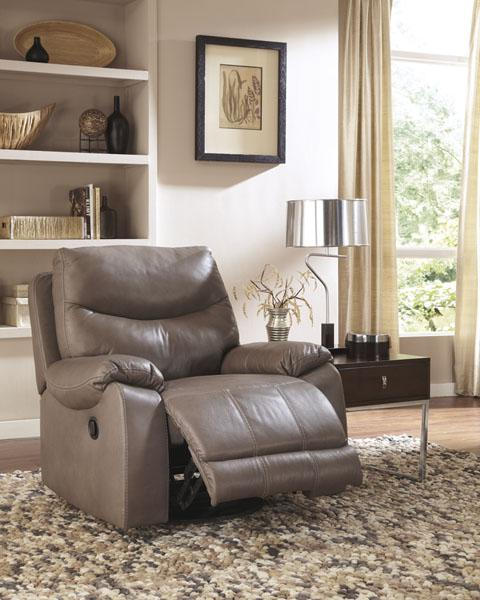 Pegram swivel glider recliner top grain leather north for Ashley furniture montreal