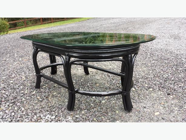 Black Rattan Coffee Table With Glass Top West Shore Langford Colwood Metchosin Highlands Victoria