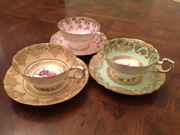 Three Vintage Elengent Teacup and Saucer Sets By Paragon